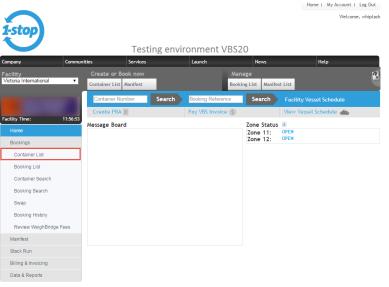 vbs menu - container list